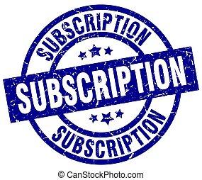 subscription blue round grunge stamp