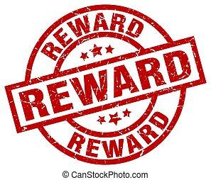 reward round red grunge stamp