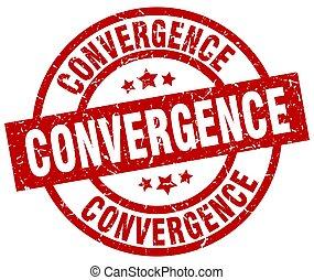 convergence round red grunge stamp