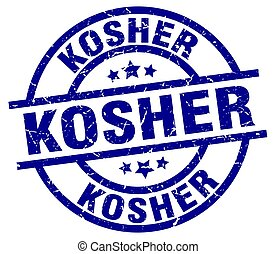 kosher blue round grunge stamp