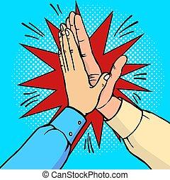 Hands high five pop art vector illustration - Hands high...