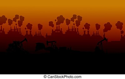 Pollution industry bad environment landscape vector...