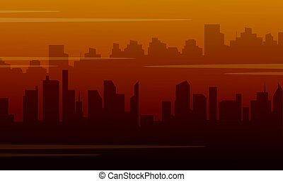 Silhouette of city with fog bad environment vector...