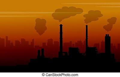 Fog on city with pollution industry vector illustration