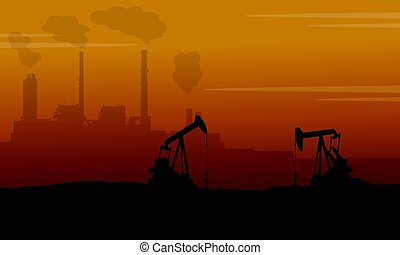 Silhouette of construction with pollution industry vector...