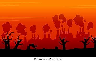 Landscape environment issue on orange backgroud illustration