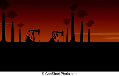Bad environment with industry pollution scenery vector art