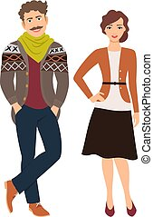 Fashion couple in casual clothes. Man in jeans and cardigan...