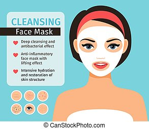 Girl with cosmetic face mask - Girl with cosmetic mask on...