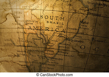 South America - An old toy globe map of South America...