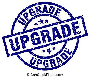 upgrade blue round grunge stamp