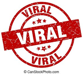 viral round red grunge stamp