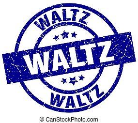 waltz blue round grunge stamp