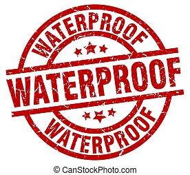 waterproof round red grunge stamp