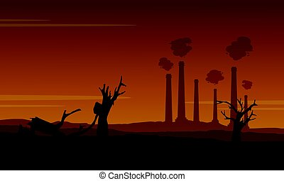 damaged forest with many industry construction illustration