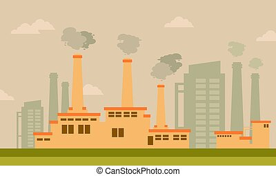 Bad environment with industry vector art collection