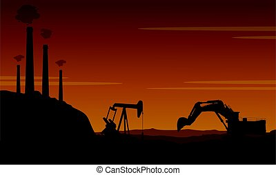 Style bad environment with pollution industry vector...