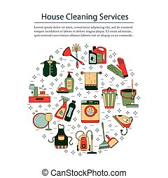 House cleaning vector card.
