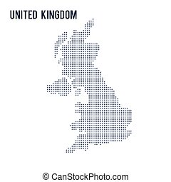 Vector dotted map of United Kingdom isolated on white...