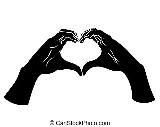 Female hands in the form of heart. Vector.