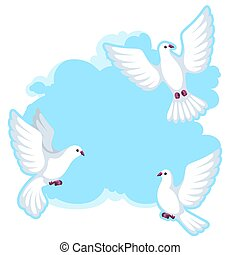 Background with white doves. Beautiful pigeons faith and...