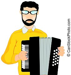 Man with accordeon - Man musician plays on accordeon on...