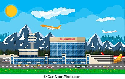 International airport in mountains concept.