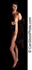 Nude in fur coat - Adult nude lovely woman in a fur coat