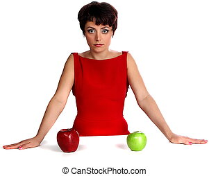 Decision - beautiful woman on red with apple
