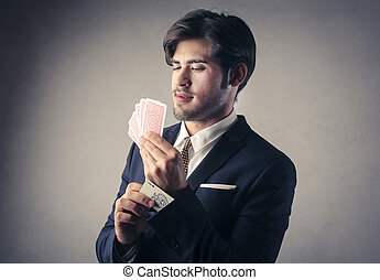 Businesman with cards - Businesman with aa deck of cards