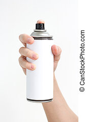 Man's hand holds a spray of black paint. Isolated on a white...