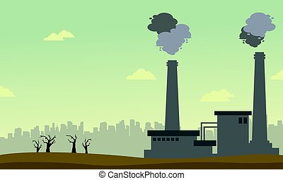 Collection of pollution industry background vector...