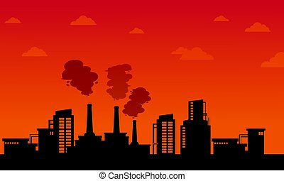 Pollution industry on orange background