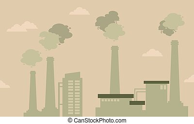 Pollution industry bad environment silhouettes