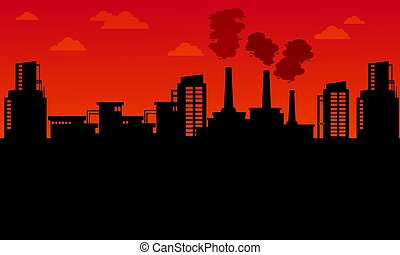 Silhouette of industry landscape bad environment...