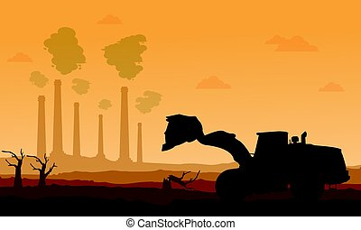 Silhouette of bad environment with clean forest