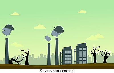 Tree on fire with pollution industry landscape