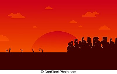 Bad environment with orange background vector illustration