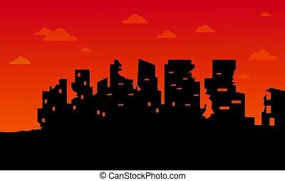Broken city for bad environment landscape vector art