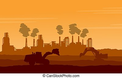 Silhouette of industry with pollution bad environment...