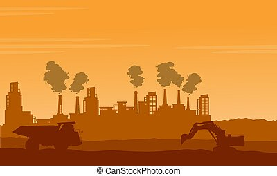 Bad environment pollution industry silhouettes