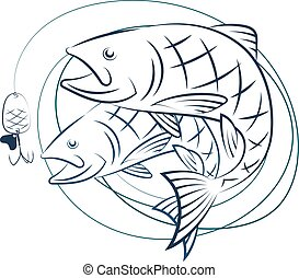 Fish and fishing line with baited - Fish and fishing line...