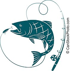 Fish and fishing rod. Silhouettes for sport fishing