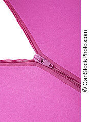 Zipper of a fuchsia colored garment