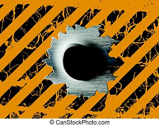 Single bullet holes - ragged hole in metal from bullets on...
