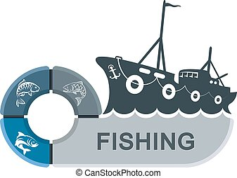 Fishing trawler with infographics. Graphics for the fishing...