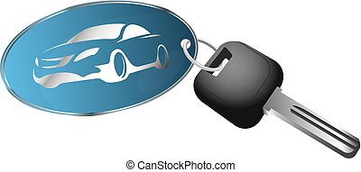 Rent a car symbol for business. Key and key chain