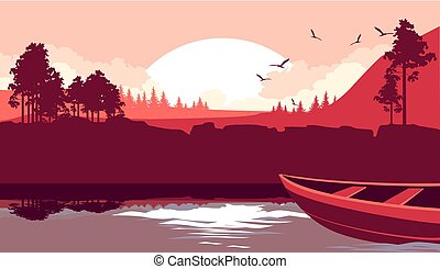 A boat sails on the river - Vector illustration fictional...