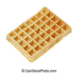 Waffle - A Rectangular waffle isolated on white