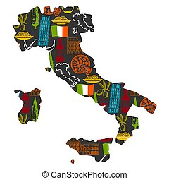 Italy background design in shape of map. Italian symbols and...